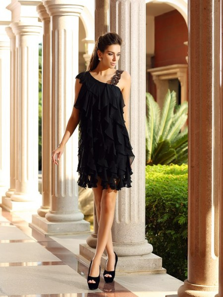 Fashion A-Line/Princess Sleeveless Short Ruffles Chiffon Cocktail Dresses