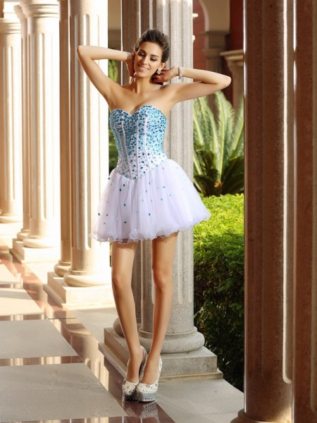 Stylish A-Line/Princess Ruffles Sleeveless Sweetheart Short Tulle Cocktail Dresses