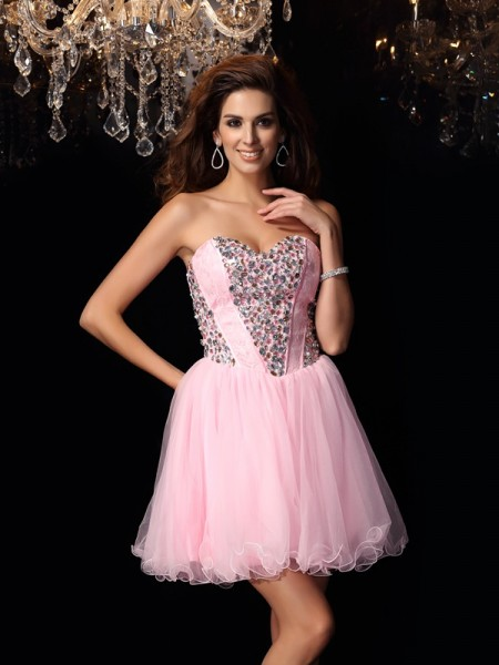 Fashion A-Line/Princess Ruffles Sleeveless Sweetheart Short Elastic Woven Satin Cocktail