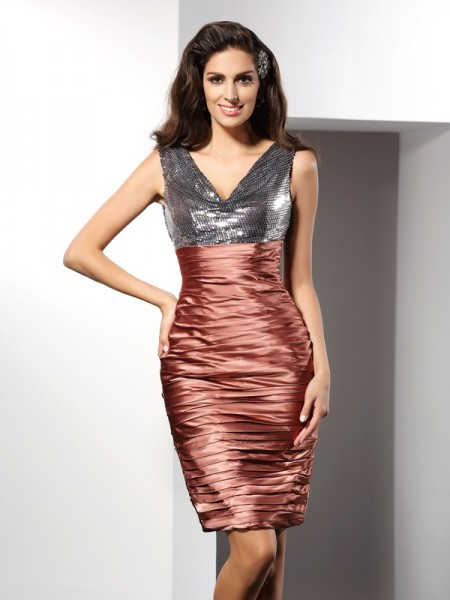 Fashion Sheath/Column Sleeveless Short V-neck Silk like Satin Cocktail Dresses