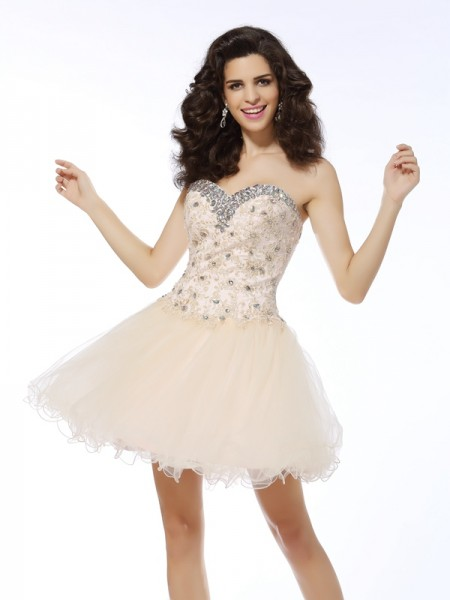 Stylish A-Line/Princess Ruffles Sleeveless Sweetheart Short Satin Cocktail Dresses