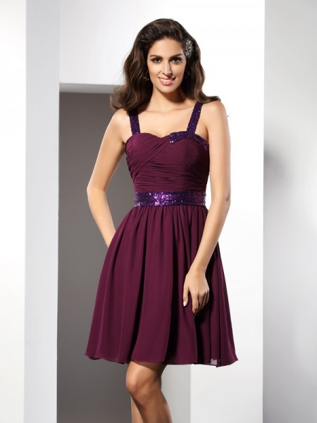Fashion A-Line/Princess Ruched Sleeveless Straps Short Chiffon Cocktail Dresses