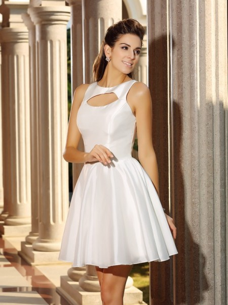 Stylish A-Line/Princess Sleeveless Short High Neck Satin Cocktail Dresses