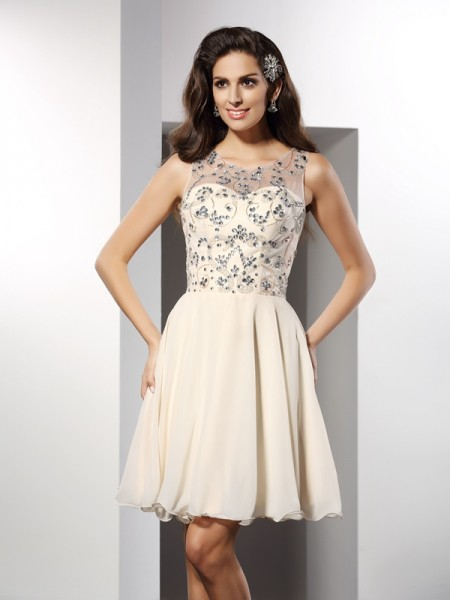 Fashion A-Line/Princess Beading Sleeveless Bateau Short Chiffon Cocktail Dresses