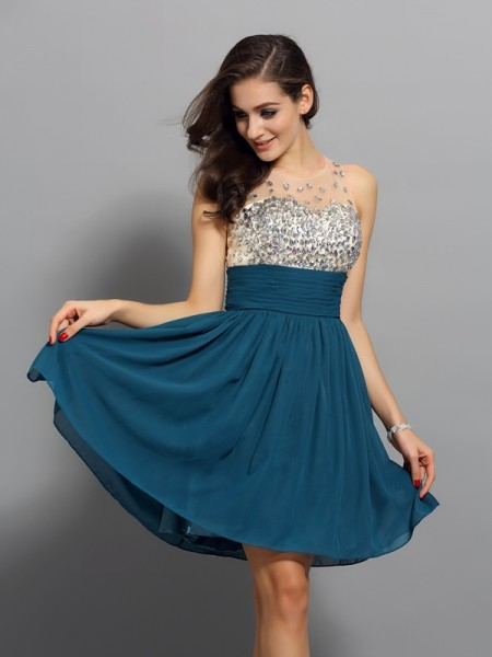 Stylish A-Line/Princess Rhinestone Sleeveless Bateau Short Chiffon Cocktail Dresses