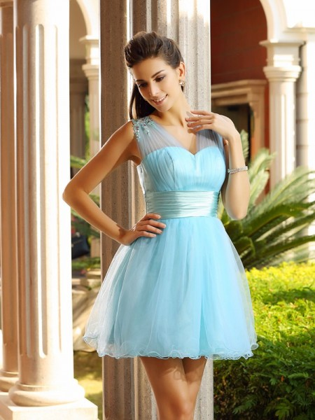 Fashion A-Line/Princess Pleats Sleeveless V-neck Short Net Cocktail Dresses