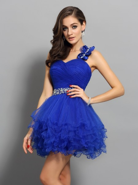 Stylish A-Line/Princess Beading Sleeveless One-Shoulder Short Organza Cocktail Dresses