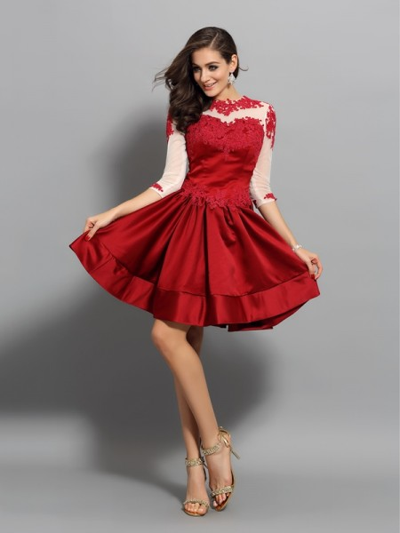 Fashion A-Line/Princess Applique 1/2 Sleeves High Neck Short Satin Cocktail Dresses