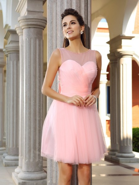 Stylish A-Line/Princess Beading Sleeveless Scoop Short Satin Cocktail Dresses