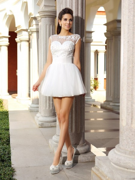Fashion A-Line/Princess Beading Sleeveless Scoop Short Satin Cocktail Dresses