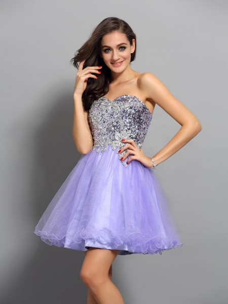 Stylish A-Line/Princess Beading Applique Sweetheart Sleeveless Short Net Cocktail Dresses