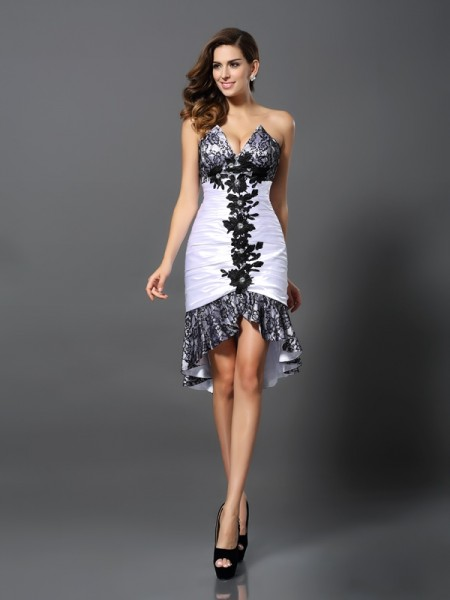 Stylish Sheath/Column Lace Sleeveless Sweetheart High Low Elastic Woven Satin