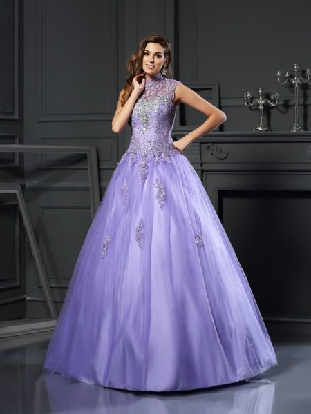 Fashion Ball Gown Beading Sleeveless High Neck Long Net Quinceanera Dresses