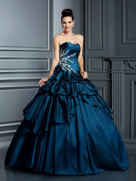 Fashion Ball Gown Beading Sleeveless Strapless Long Taffeta Quinceanera Dresses