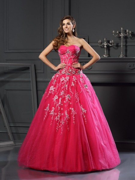 Stylish Ball Gown Applique Sleeveless Sweetheart Long Net Quinceanera Dresses