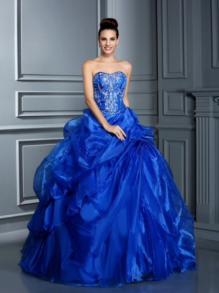 Fashion Ball Gown Applique Sleeveless Sweetheart Long Satin Quinceanera Dresses