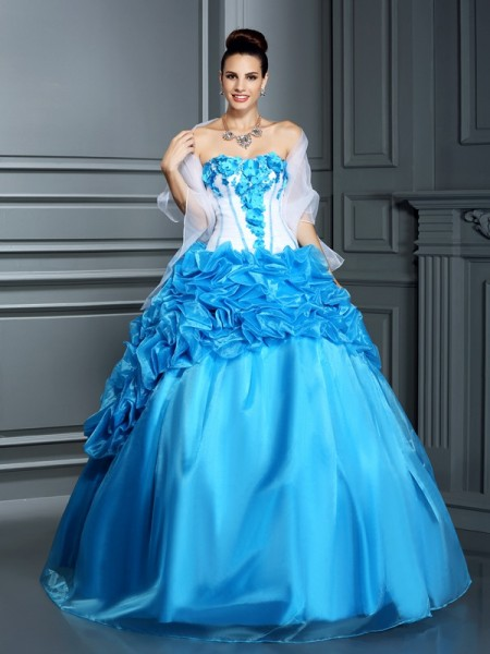 Fashion Ball Gown Ruffles Sleeveless Sweetheart Long Satin Quinceanera Dresses