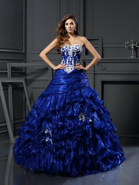 Stylish Ball Gown Beading Applique Sweetheart Sleeveless Long Tulle Quinceanera Dresses