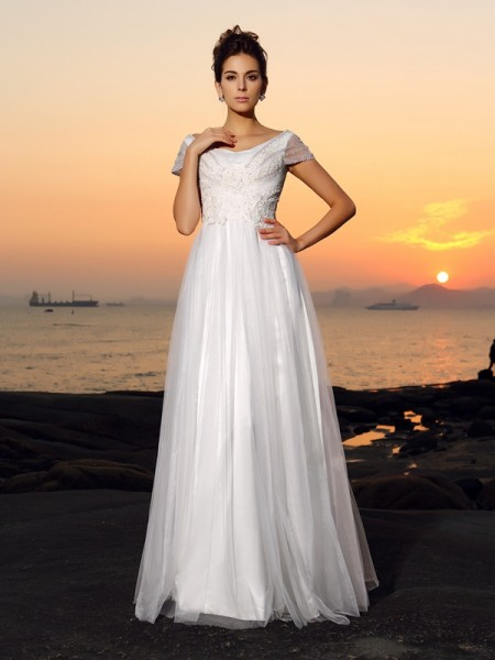 Fashion A-Line/Princess Beading Short Sleeves Off-the-Shoulder Long Tulle Beach Wedding Dresses