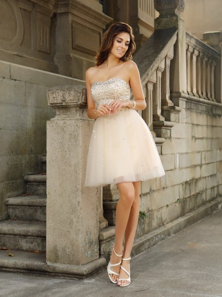 Stylish A-Line/Princess Beading Sleeveless Strapless Short Satin Cocktail Dresses