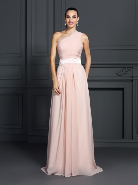 Stylish A-Line/Princess Ruffles Sleeveless One-Shoulder Long Chiffon Dresses