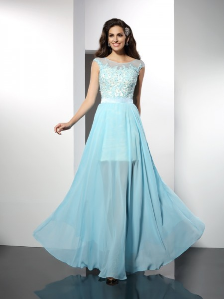 Fashion A-Line/Princess Applique Sleeveless Bateau Long Chiffon Dresses