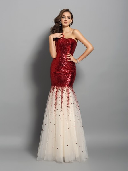 Stylish Trumpet/Mermaid Sleeveless Long One-Shoulder Sequins Dresses