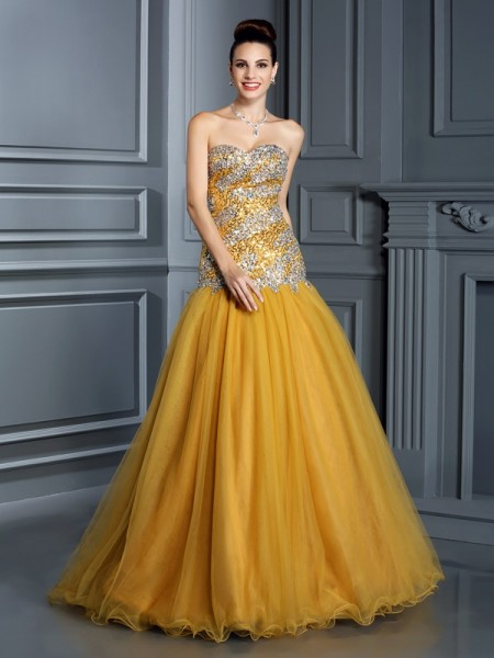 Fashion A-Line/Princess Ruffles Sleeveless Sweetheart Long Satin Dresses
