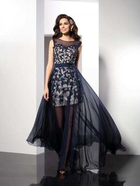 Stylish A-Line/Princess Sleeveless Long Scoop Elastic Woven Satin Dresses