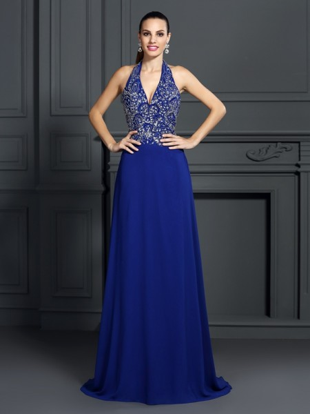 Stylish A-Line/Princess Applique Sleeveless Halter Long Chiffon Dresses