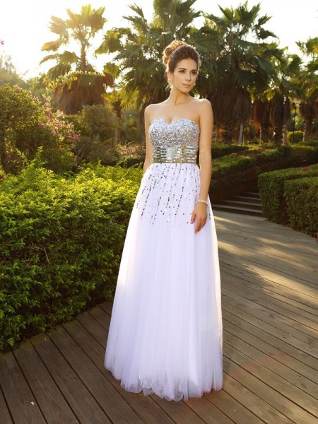Fashion A-Line/Princess Beading Sleeveless Sweetheart Long Organza Dresses