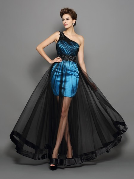 Stylish A-Line/Princess Ruched Sleeveless One-Shoulder Long Elastic Woven Satin Dresses