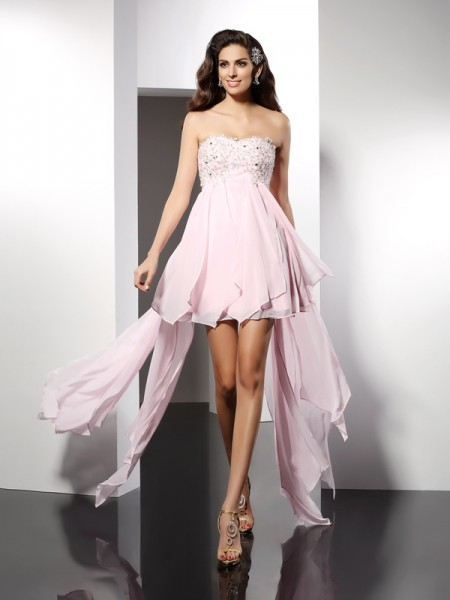 Fashion A-Line/Princess Applique Sleeveless Sweetheart High Low Chiffon Cocktail Dresses
