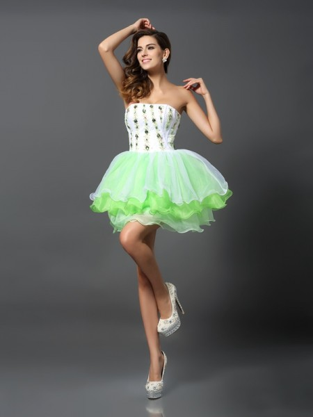 Fashion A-Line/Princess Ruffles Sleeveless Strapless Short Organza Cocktail Dresses