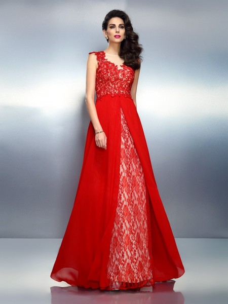 Stylish A-Line/Princess Applique Sleeveless Bateau Long Net Dresses