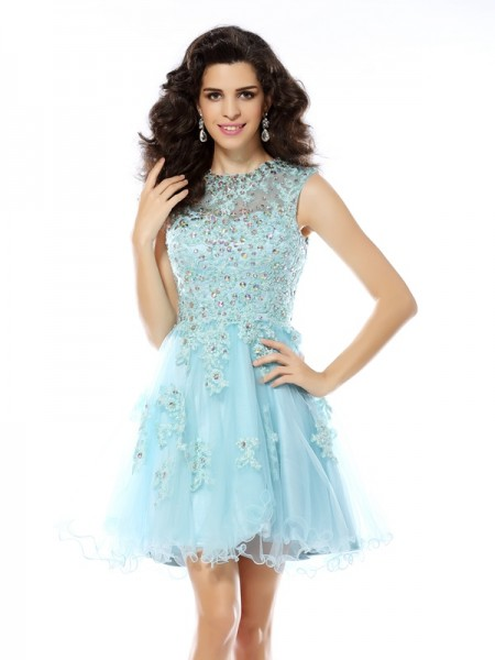 Stylish A-Line/Princess Beading Applique Scoop Sleeveless Short Satin Cocktail Dresses