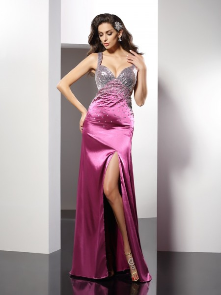 Fashion A-Line/Princess Beading Sleeveless Straps Long Elastic Woven Satin Dresses