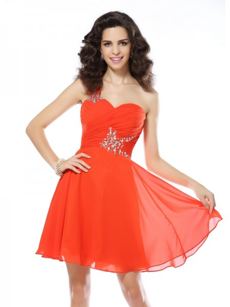 Stylish A-Line/Princess Beading Sleeveless One-Shoulder Short Chiffon Cocktail Dresses
