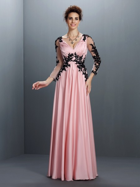 Stylish A-Line/Princess Applique 3/4 Sleeves V-neck Long Chiffon Dresses