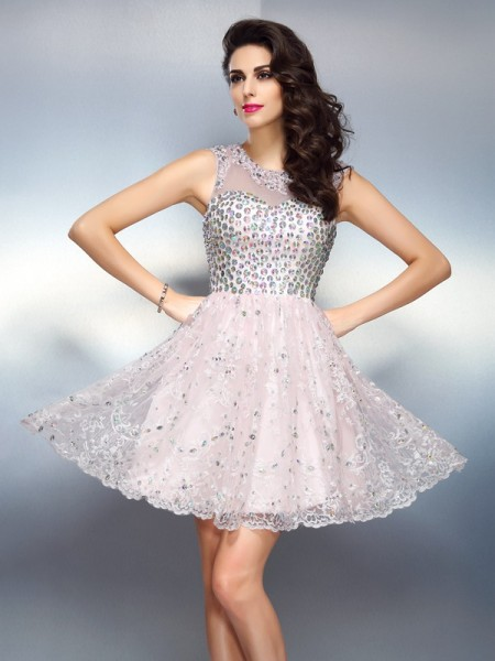 Stylish A-Line/Princess Beading Sleeveless Bateau Short Satin Cocktail Dresses