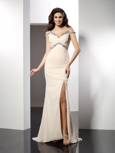 Fashion Trumpet/Mermaid Sleeveless Long Sweetheart Chiffon Dresses