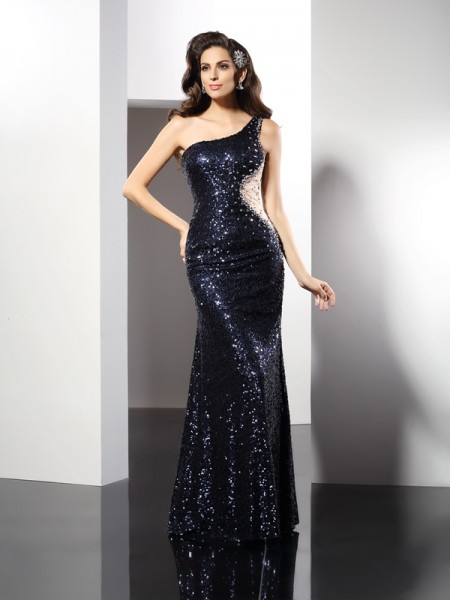 Stylish Sheath/Column Sequin Sleeveless One-Shoulder Long Sequins Dresses