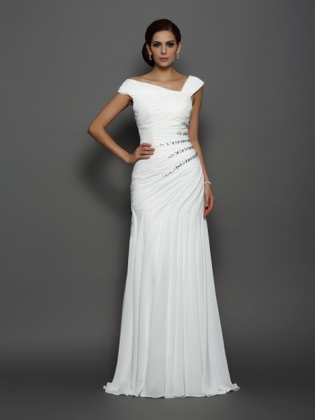 Stylish Trumpet/Mermaid Sleeveless Long Beading Chiffon Dresses
