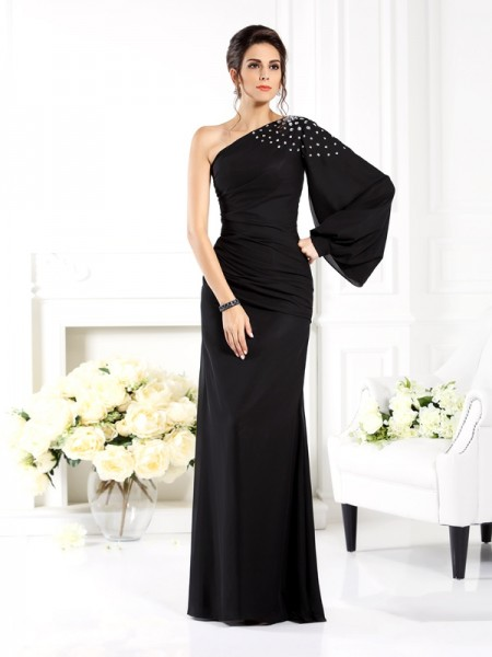 Stylish Sheath/Column Beading Long Sleeves One-Shoulder Long Chiffon Mother of the Bride Dresses