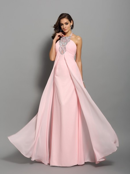 Stylish Sheath/Column Beading Sleeveless High Neck Long Chiffon Dresses
