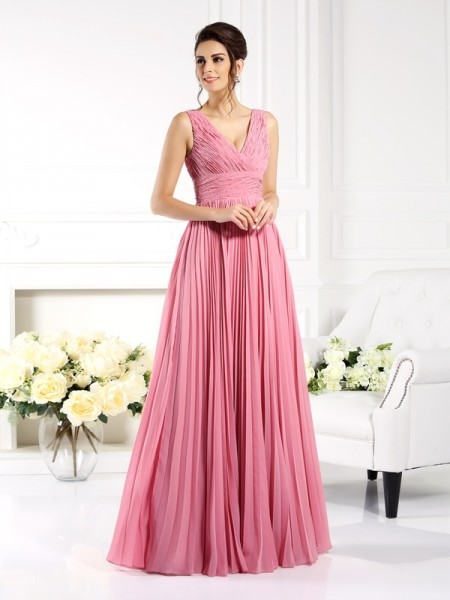 Stylish A-Line/Princess Pleats Sleeveless Sweetheart Long Chiffon Mother of the Bride Dresses