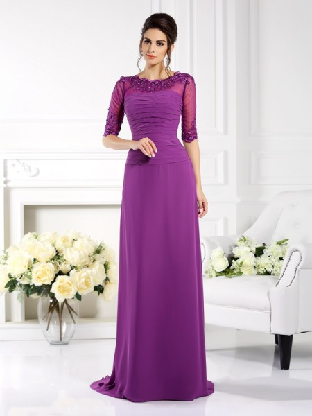 Stylish Sheath/Column Applique 1/2 Sleeves Scoop Long Chiffon Mother of the Bride Dresses