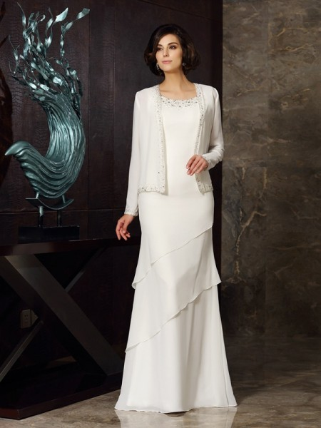 Fashion Sheath/Column Beading Sleeveless Scoop Long Chiffon Mother of the Bride Dresses