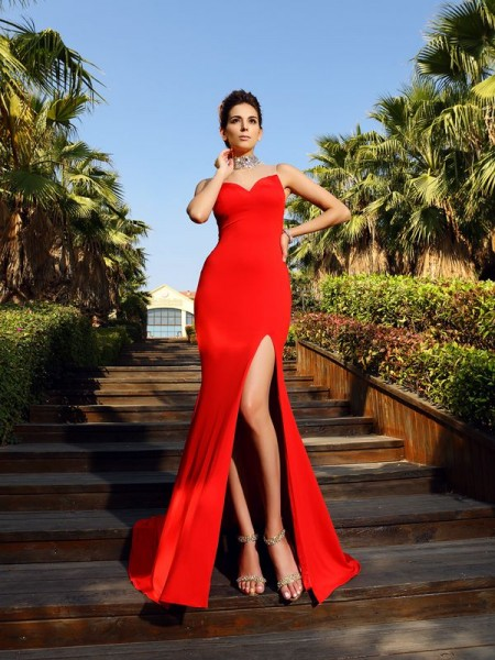Fashion Sheath/Column Beading Sleeveless High Neck Long Spandex Dresses