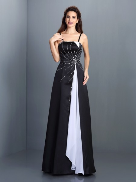 Stylish A-Line/Princess Straps Sleeveless Spaghetti Long Chiffon Dresses